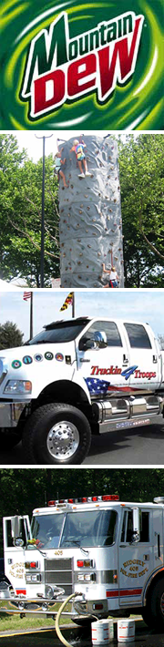 Family Fun Banner showcasing the Mountain Dew simulator car, the rock climbing wall, Tuckin for Troops, and the Ridgely VFD.